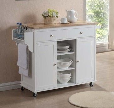 Baxton Studio Meryland Kitchen Island Cart in - contemporary - Kitchen Islands And Kitchen Carts - ivgStores