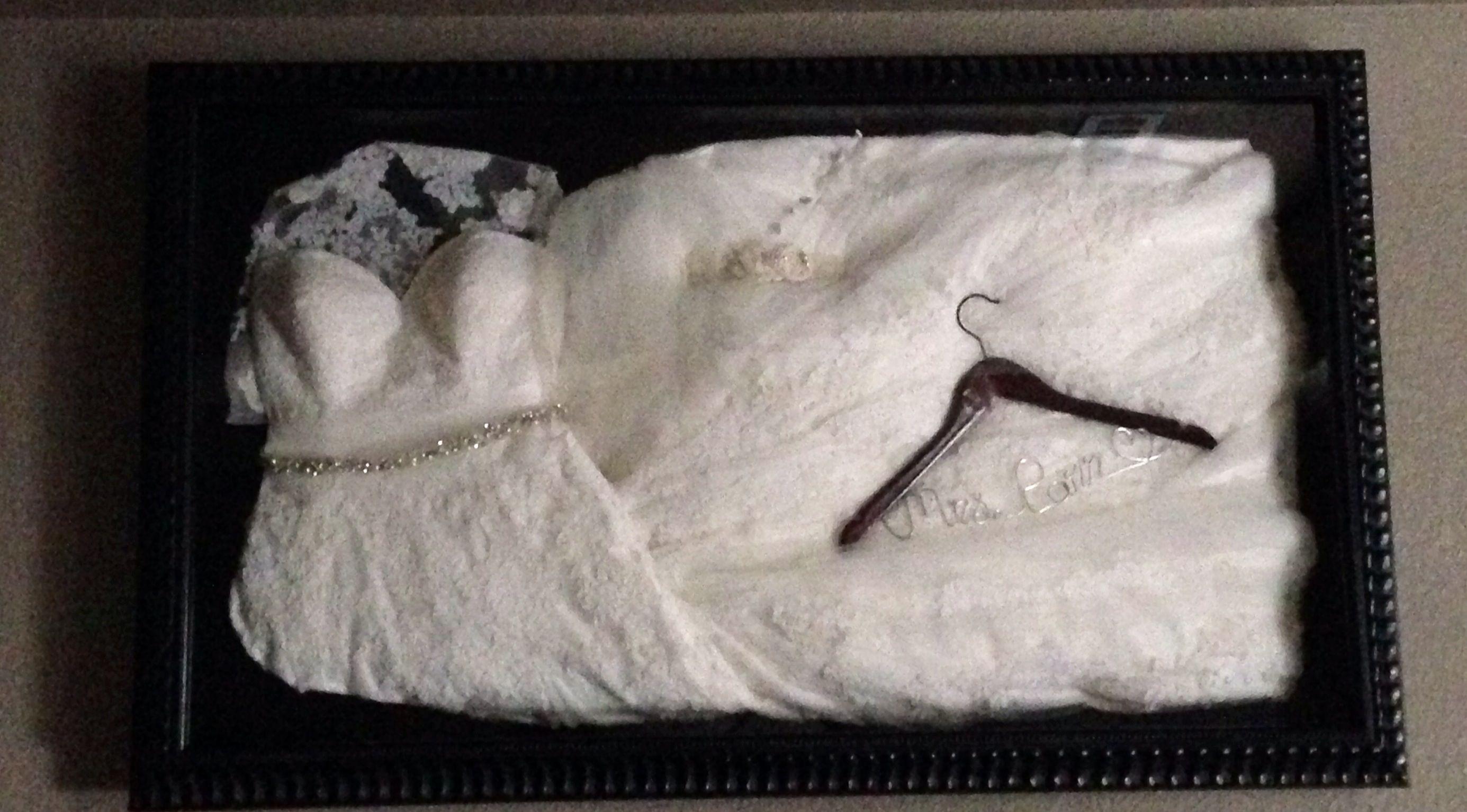 My wedding dress shadow box with veil and garter. Measures 32x48 ...