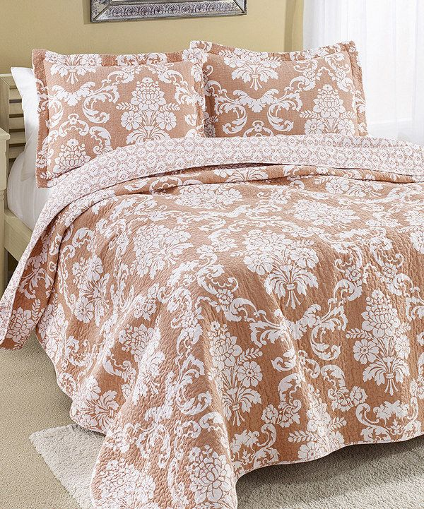 Look at this Coral Venetia Quilt Set on #zulily today!