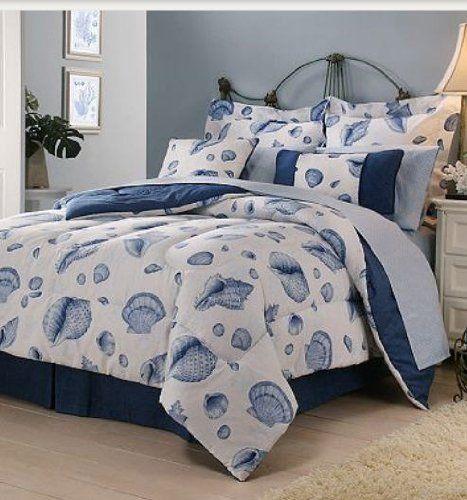 Seashell, Beach Themed, Tropical Queen Comforter, Sheets, Shams, Bedskirt U0026  Toss