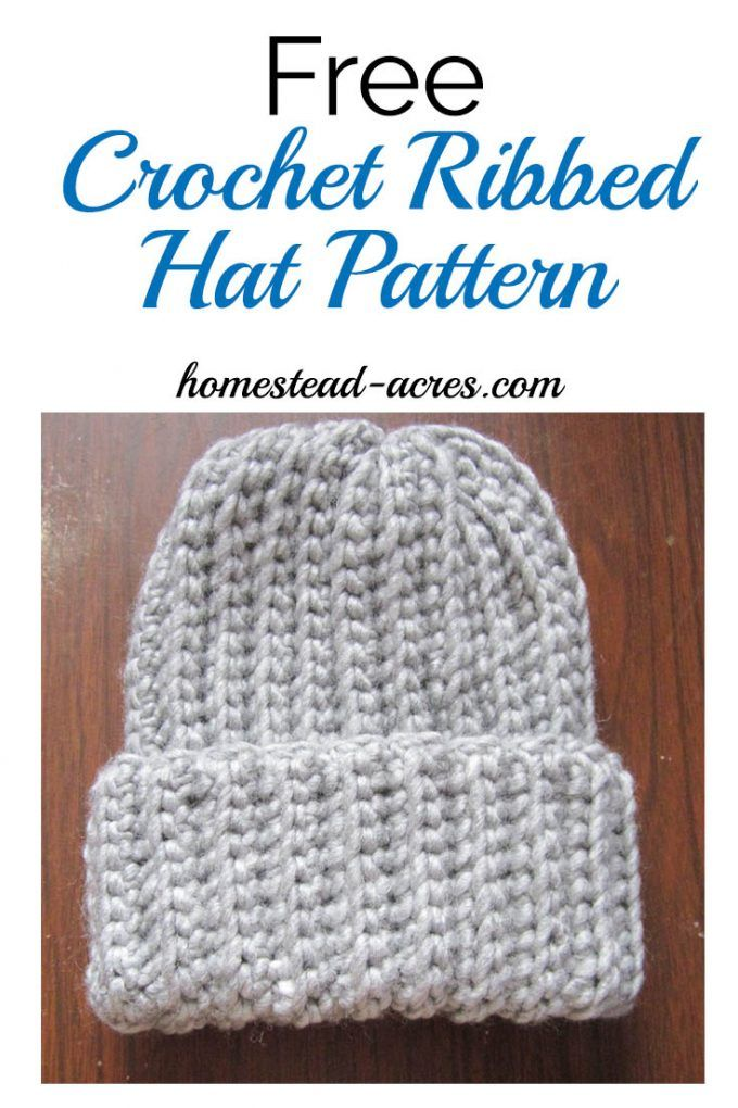 1820165295b Free Crochet Ribbed Hat Pattern. This is a quick and easy crochet ribbed hat  pattern that looks just like ribbed knitting! It s my favourite free  crochet ...
