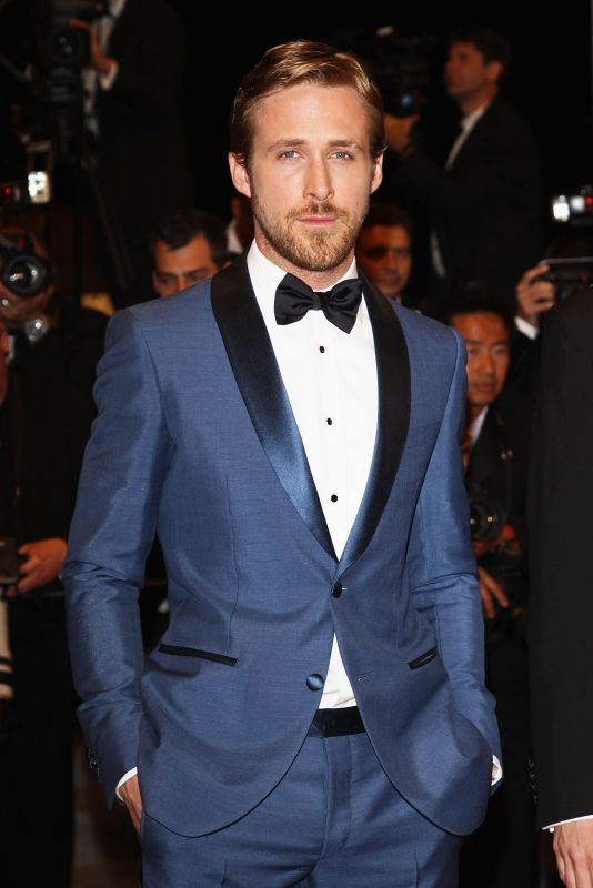 Ryan Gosling at Cannes in Blue Suit by Salvatore Ferragamo ...