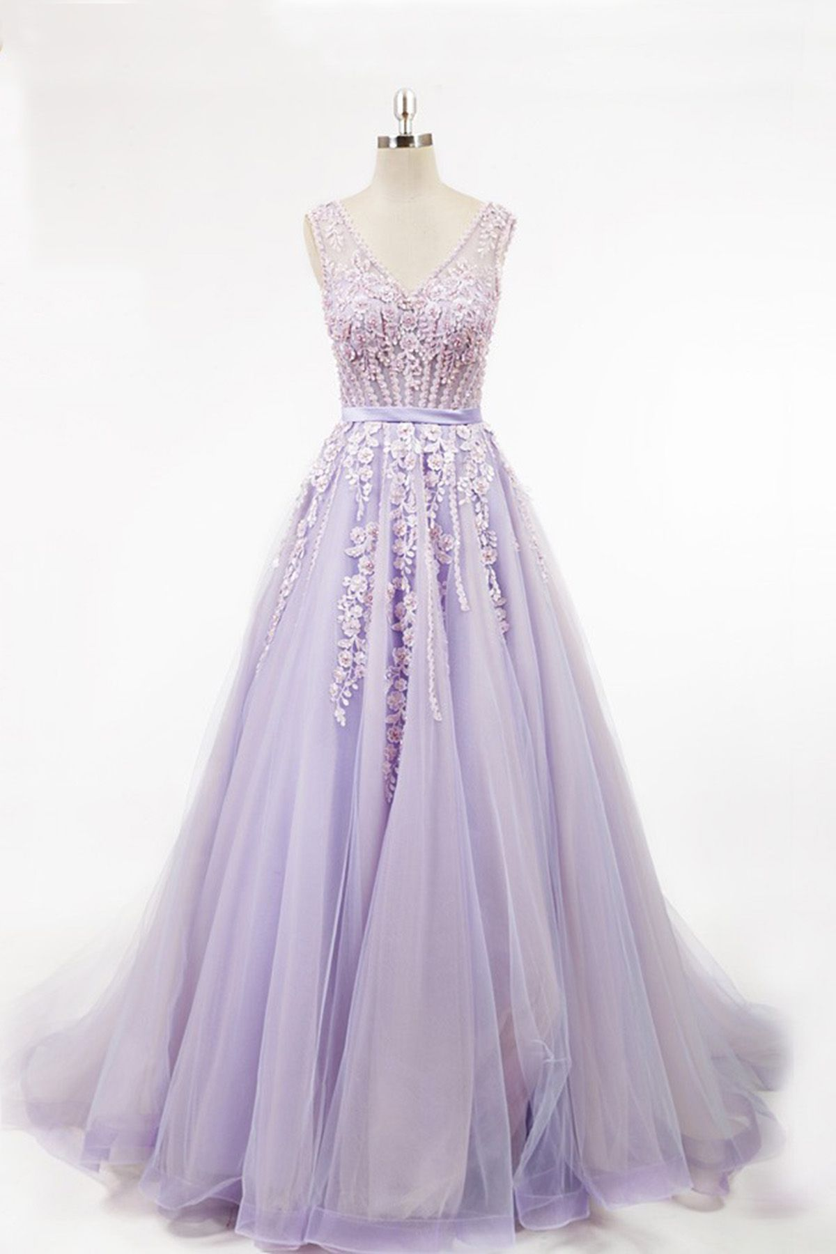 761226a9c Beautiful lavender tulle prom dress with 3D flowers, modest prom dress,  senior prom dresses