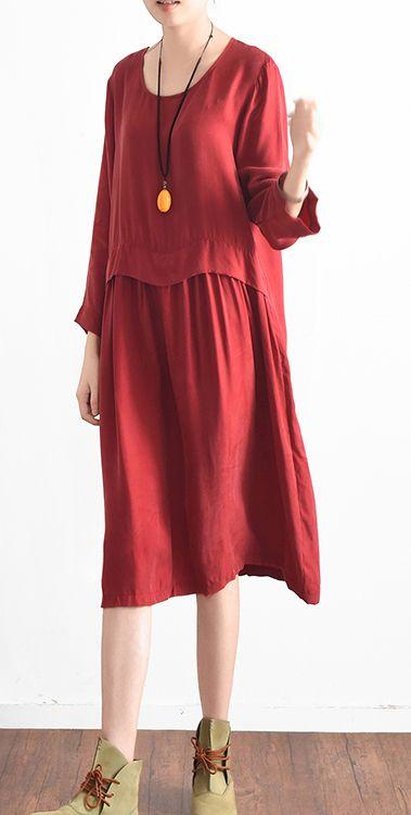 d2ad4538b440 2017 red stylish cotton dresses plus size patchwork sundress long sleeve  maxi dress