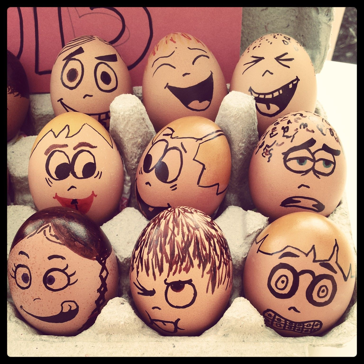 cartoon egg faces class photo 2013 japanese chins pinterest