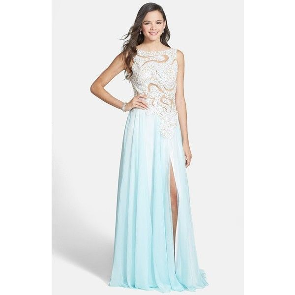 Junior Mac Duggal Embellished Illusion Bodice Gown (8 040 ZAR ...