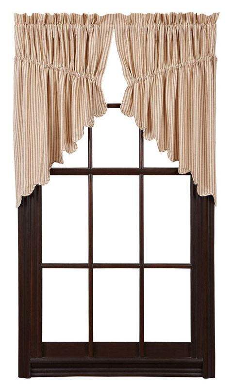 Millie Lined Scalloped Prairie Curtain Swag 36 X 18