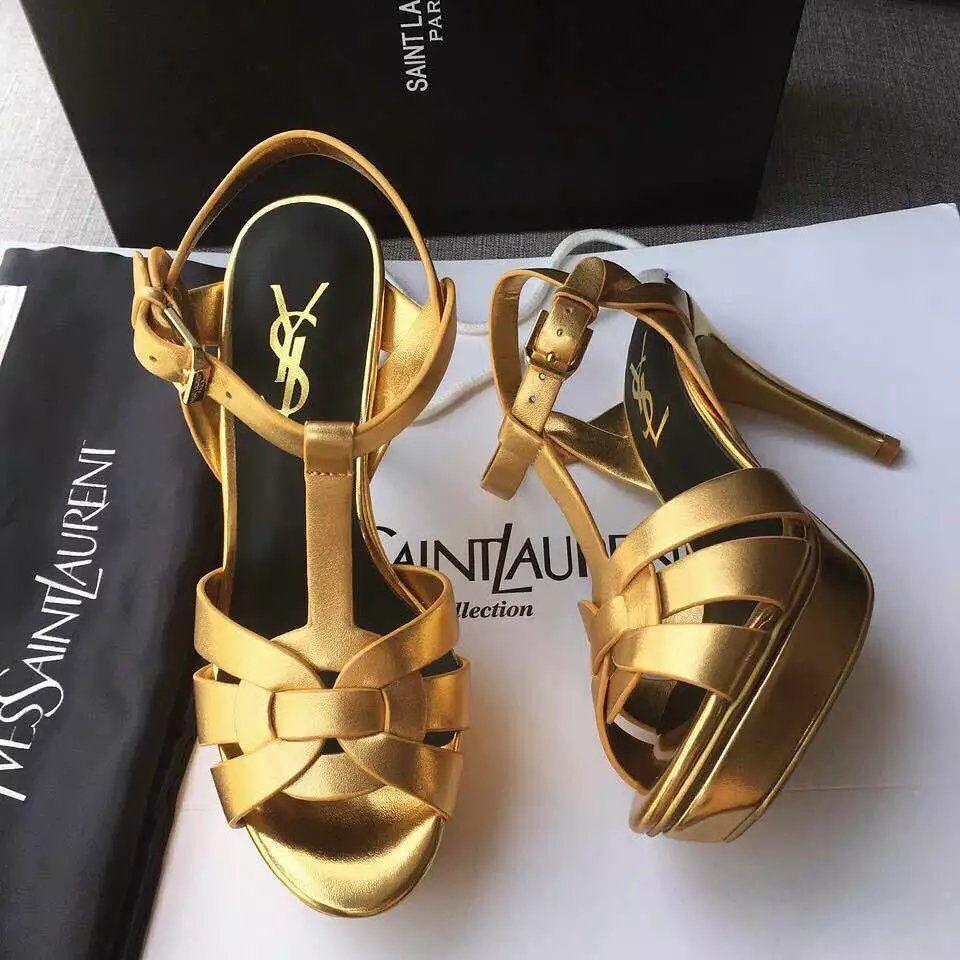 YSL Matte Gold High Heels Sandals size: 35-41 Color: gold, black