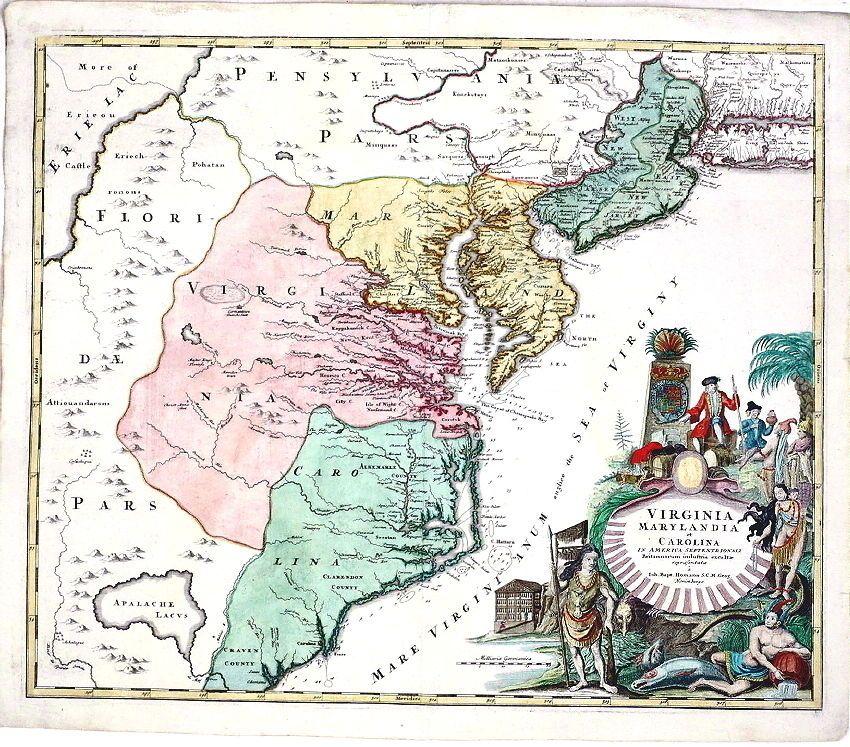 Antique map ca 1730 virginia maryland carolina america 1730 virginia maryland carolina america jb sciox Gallery