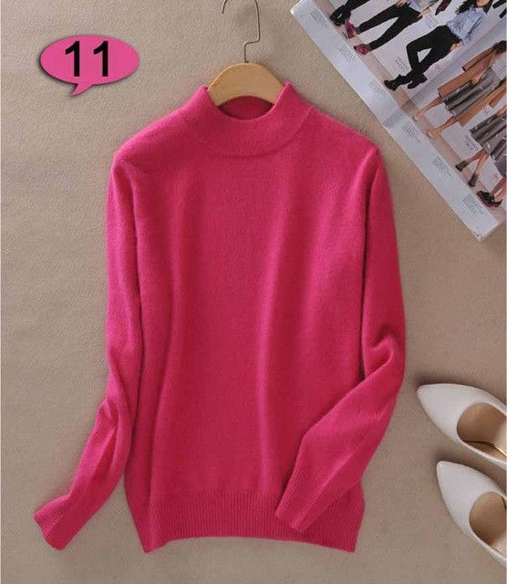 Winter Wool Pure Cashmere Sweater Women Pullovers Long Sleeve Pull ... acd8b61b7