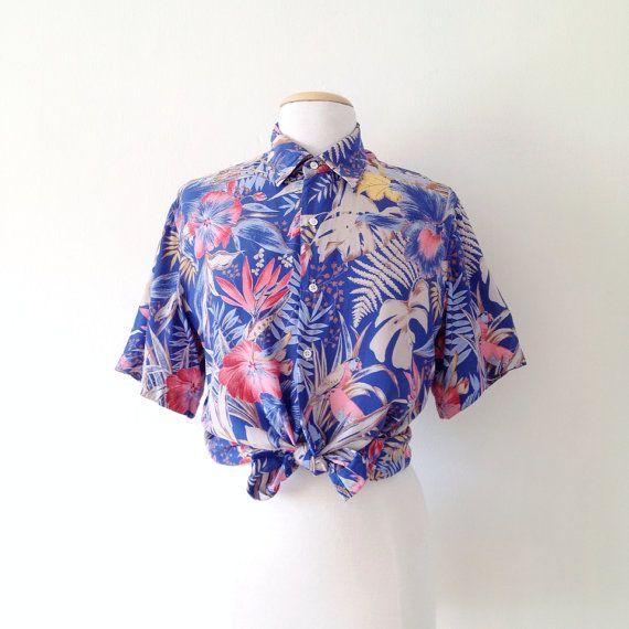 9e3eb220 cacharel blouse / hawaiian shirt womens / tropical print shirt / button up  rayon shirt