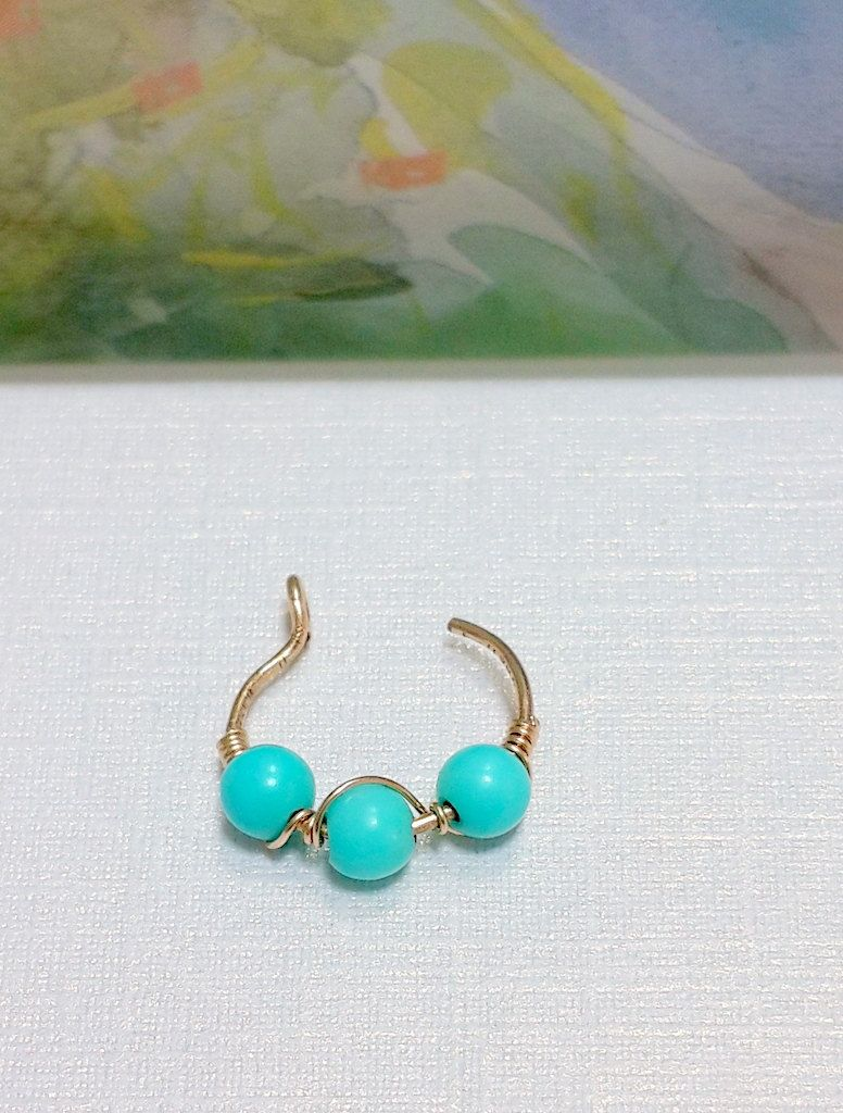 Nose piercing earrings  Turquoise Fake Nose Ring  Gold u Silver Fake Nose Ring  Fake Nose