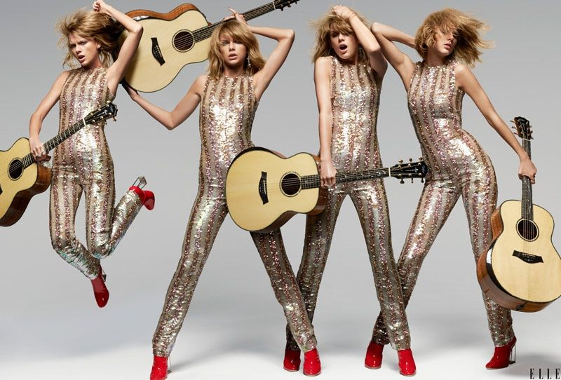 Pop star Taylor Swift graces the pages of ELLE's June 2015 cover story rocking a glittering Dior jumpsuit. Photographed by Michael Thompson, the blonde beauty poses with a guitar and stands with her hair blowing through the wind. In her interview, she talks to Tavi Gevinson about boys, songwriting and having no regrets. Related: 8 Times Taylor Swift Wore Lipstick Taylor on having no regrets about ...
