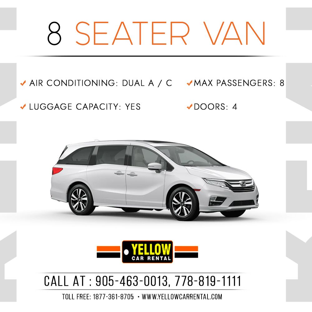 YELLOW CAR RENTAL provides 8 Seater Van for you to travel