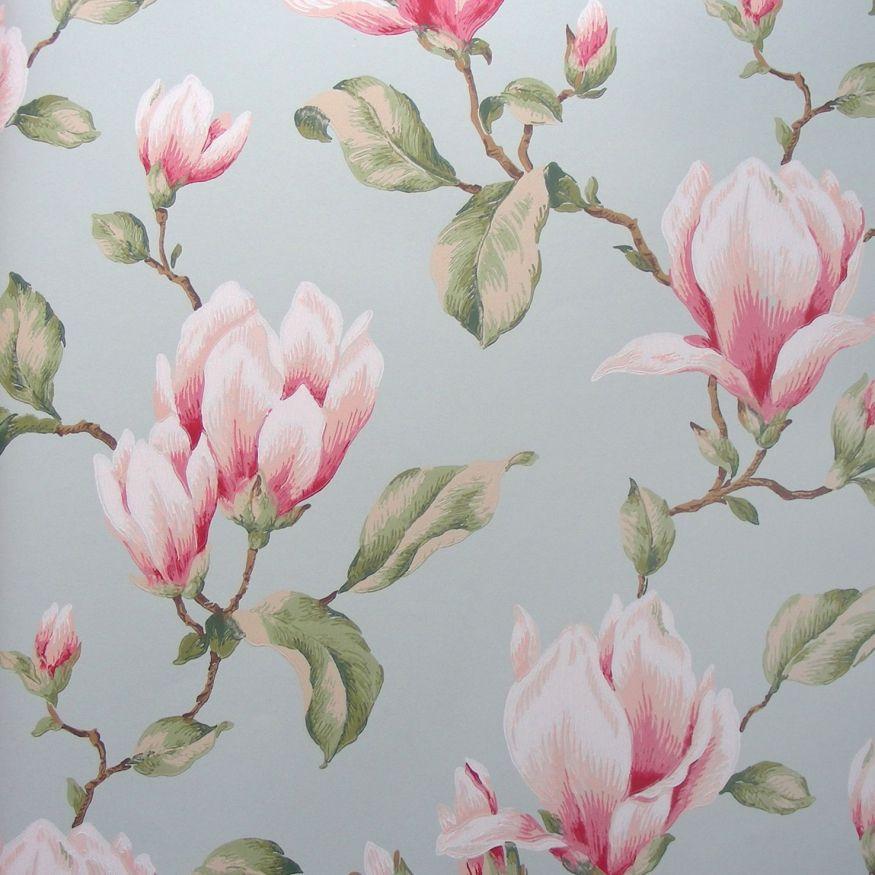 billig tapet Sart rosa magnolia blomster   Køb billig blomstret tapet online  billig tapet