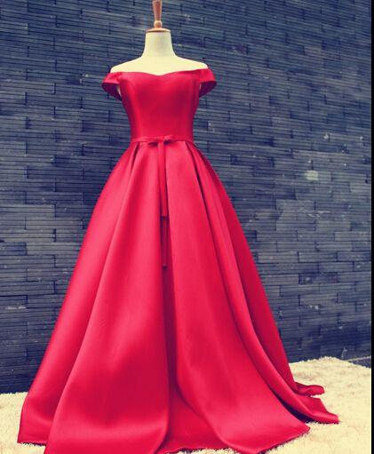 92ddf857c Elegant Satin Floor Length V Neck Red Lace Up Back Prom Dress ...