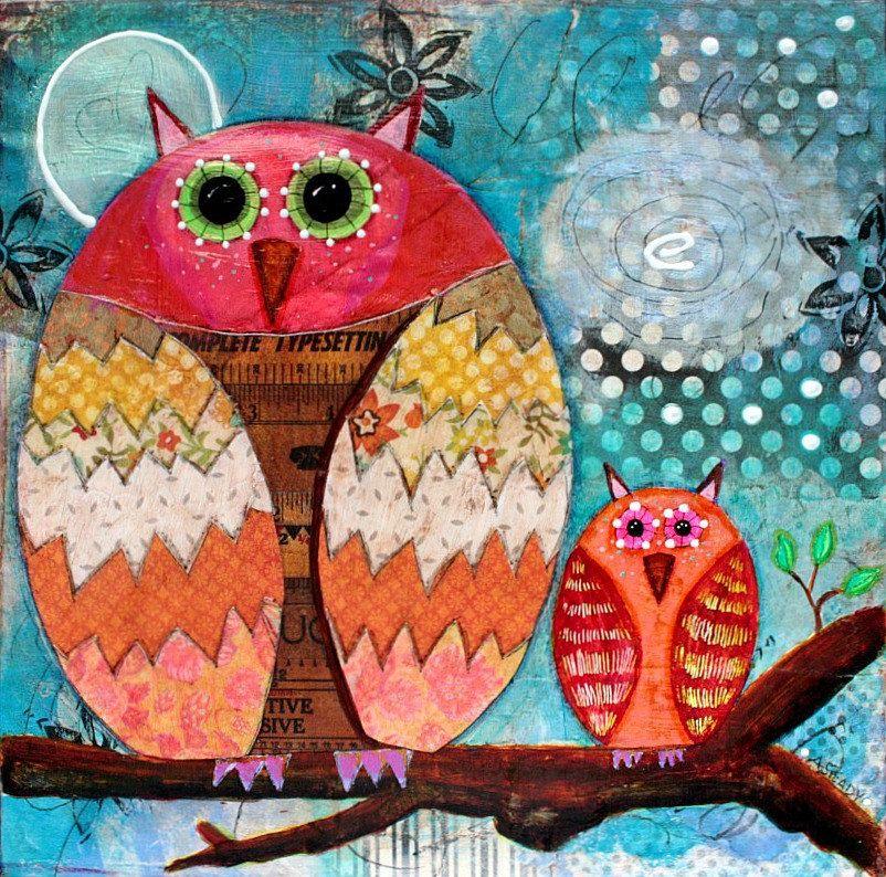 Art Print 8x8 Archival Photographic Print  of Owl from Original Artwork on Etsy. $15.00, via Etsy.
