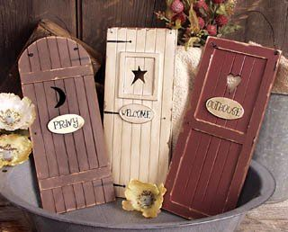 Outhouse Doors Signs ~ Bathroom Wall Decor ~ Set Of 3 ~ Welcome Privy  Outhouse: