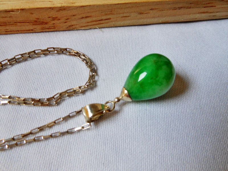 leaves pendant chains and wj necklace inch sterling circle jewelry cz dyed green jade silver bling disc