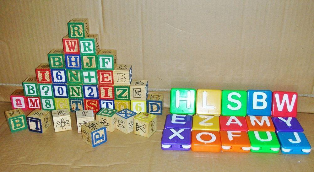 Wooden Alphabet Letter Squares Ebay