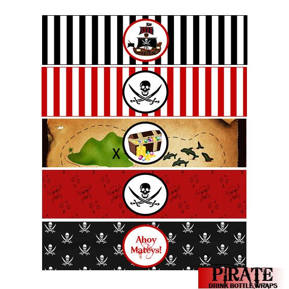 Pirate Water Bottle Labels Party Favors by ADTRCustomDesigns, $5.50