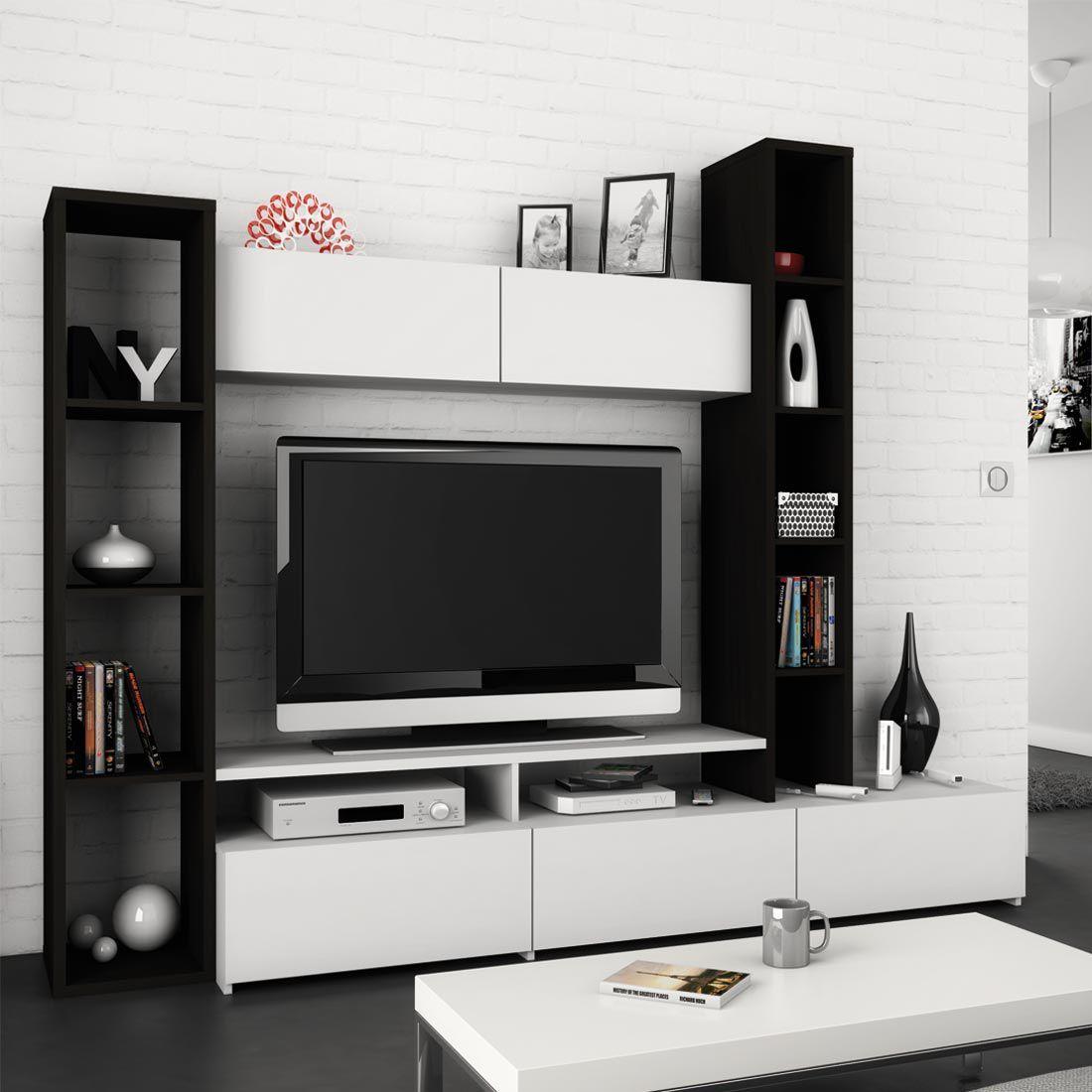 Interior design-ideen wohnzimmer mit tv wohnwand kimberly teilig  ebenholz dekor  weiß fredriks möbel