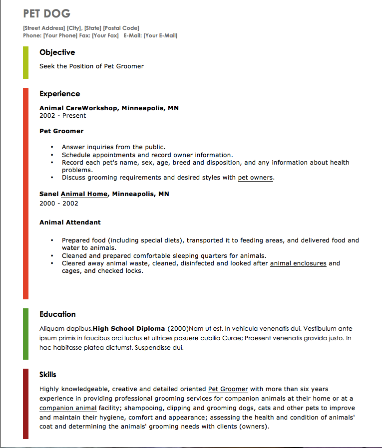 resume examples for pet grooming httpexampleresumecvorgresume