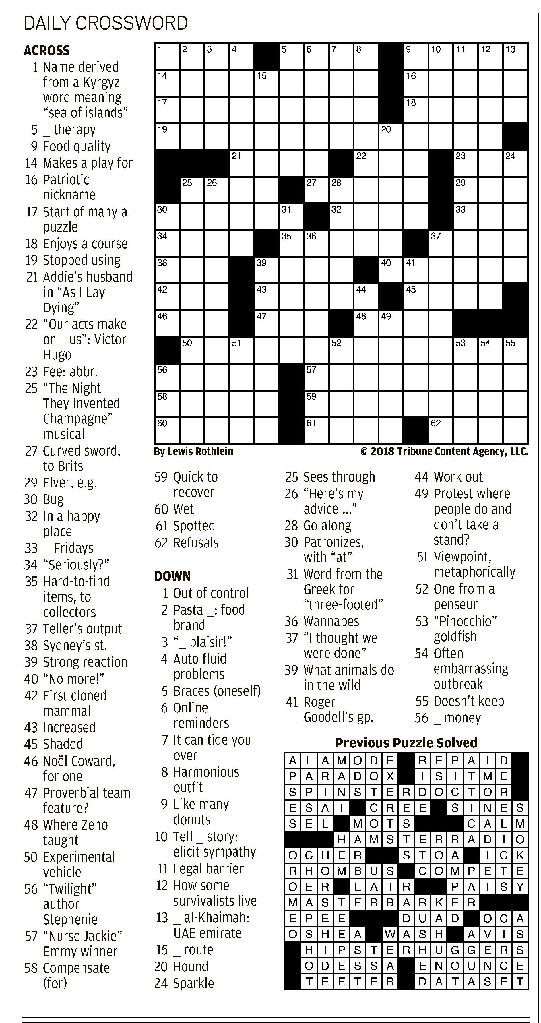 Springfield News Sun Halloween Crossword Puzzles Crossword