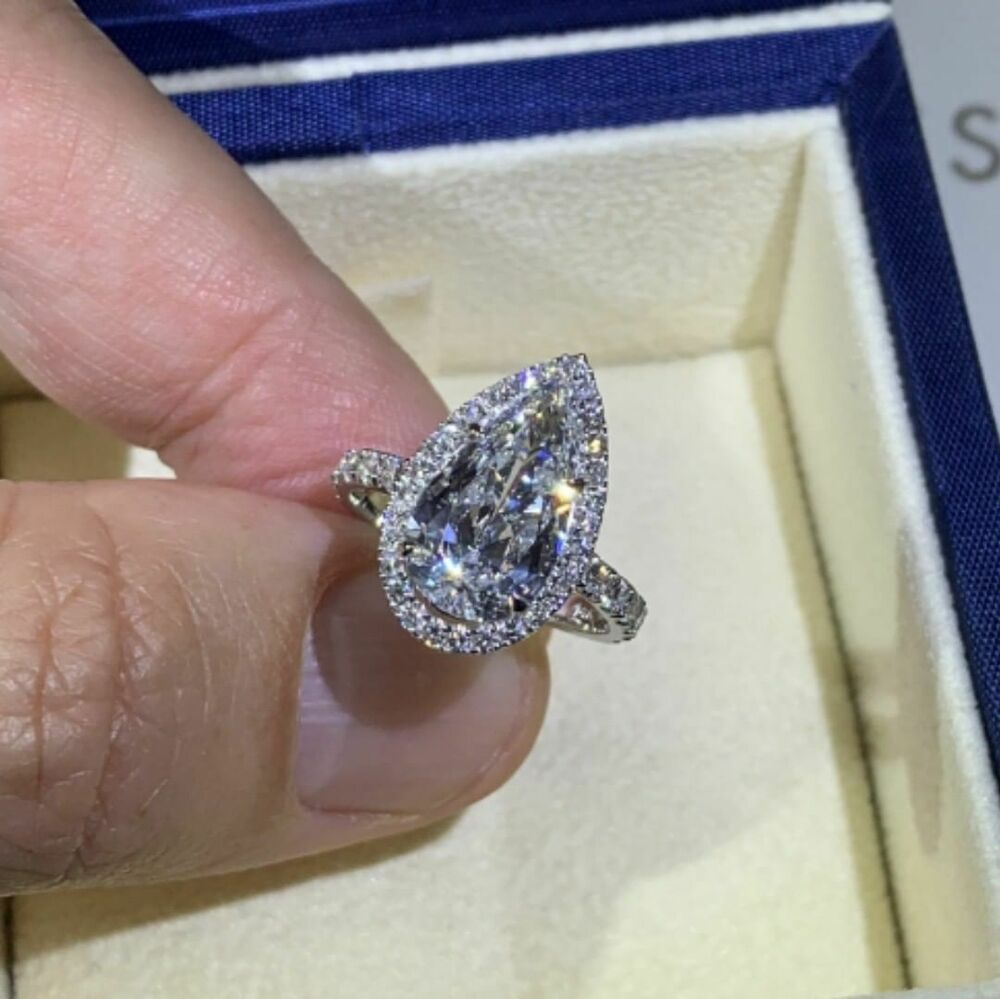 2.90Ct Pear Cut D//VVS1 Diamond Solitaire Engagement Ring 18K White Gold Finish