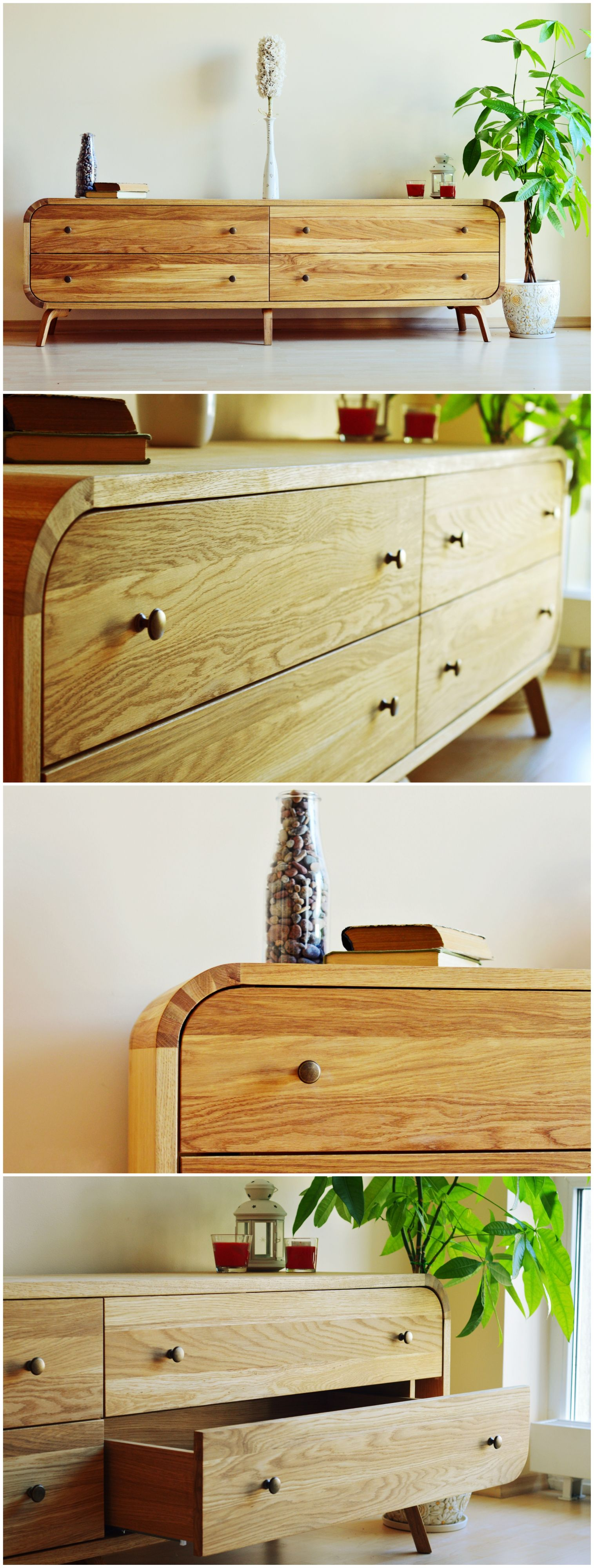 Chest Of Drawers Dresser Luxury Furniture Cabinet Low Cabinet TV Console  Midcentury Living Room Oak Solid