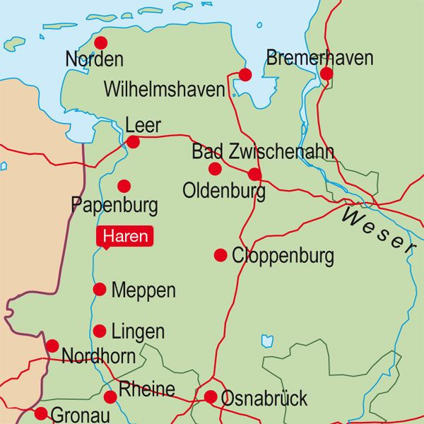 Locator Map Haren Germany Bremerhaven Wilhelmshaven Papenburg