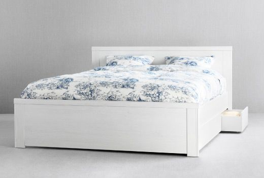 I Love The Simplicity Of This White Bed The 4 Drawers For Storage Are Just An Added Bonus Ikea Storage Bed Ikea Bed King Size Bed Frame