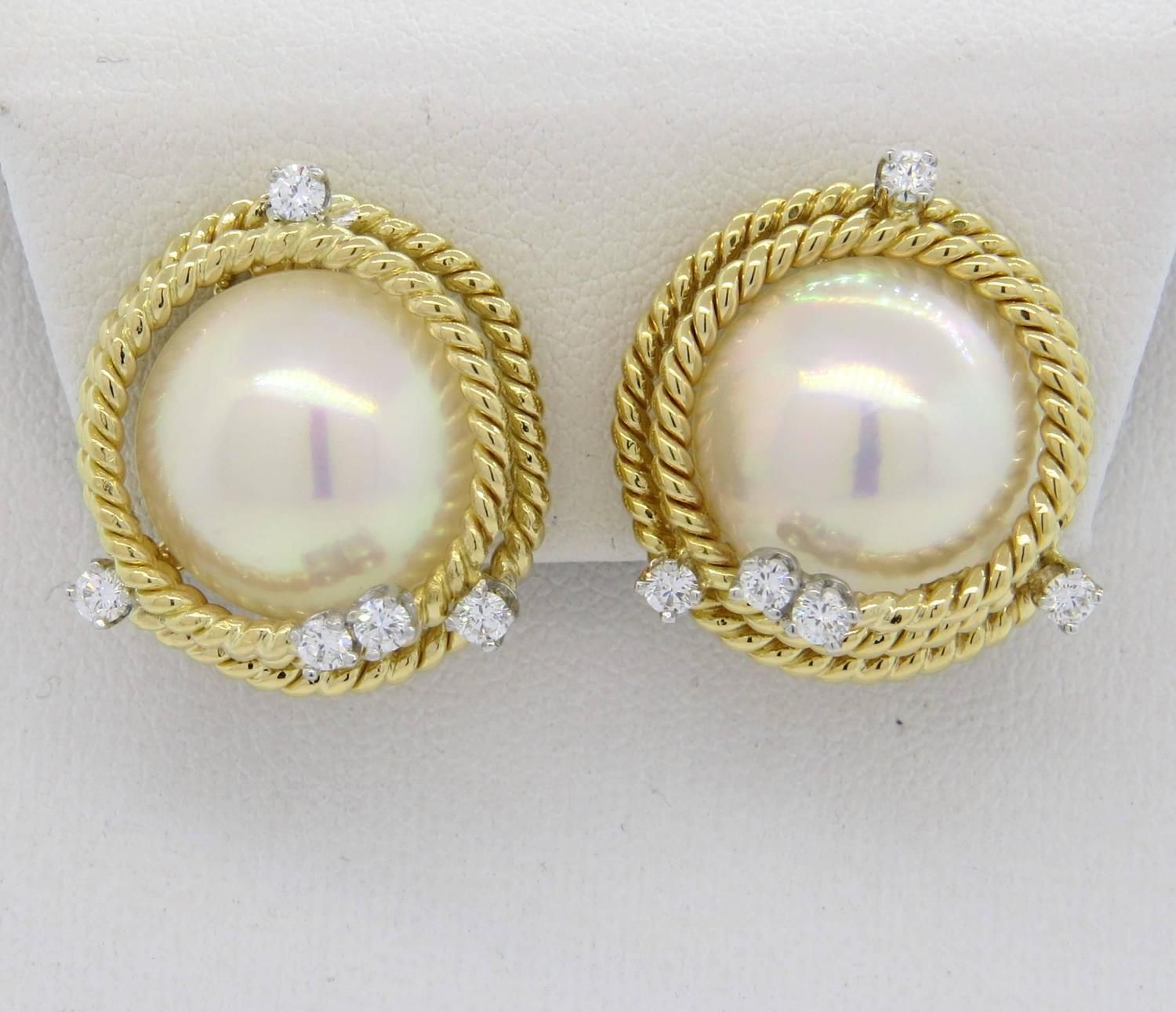 c2ef9c7c8 Tiffany & Co. Jean Schlumberger Pearl Diamond Gold Rope Earrings | From  a unique