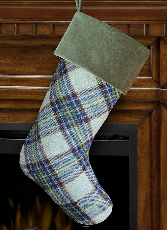 Green & Blue Plaid Wool Christmas Stocking with Green Velvet Cuff