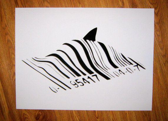 Banksy Custom Print / Poster  18 x 24 Shark Barcode by daveyknew84, $17.99