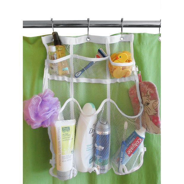 Evelots Mesh Bath U0026 Shower Organizer, Space Saving 6 Pocket Storage Caddy,  White