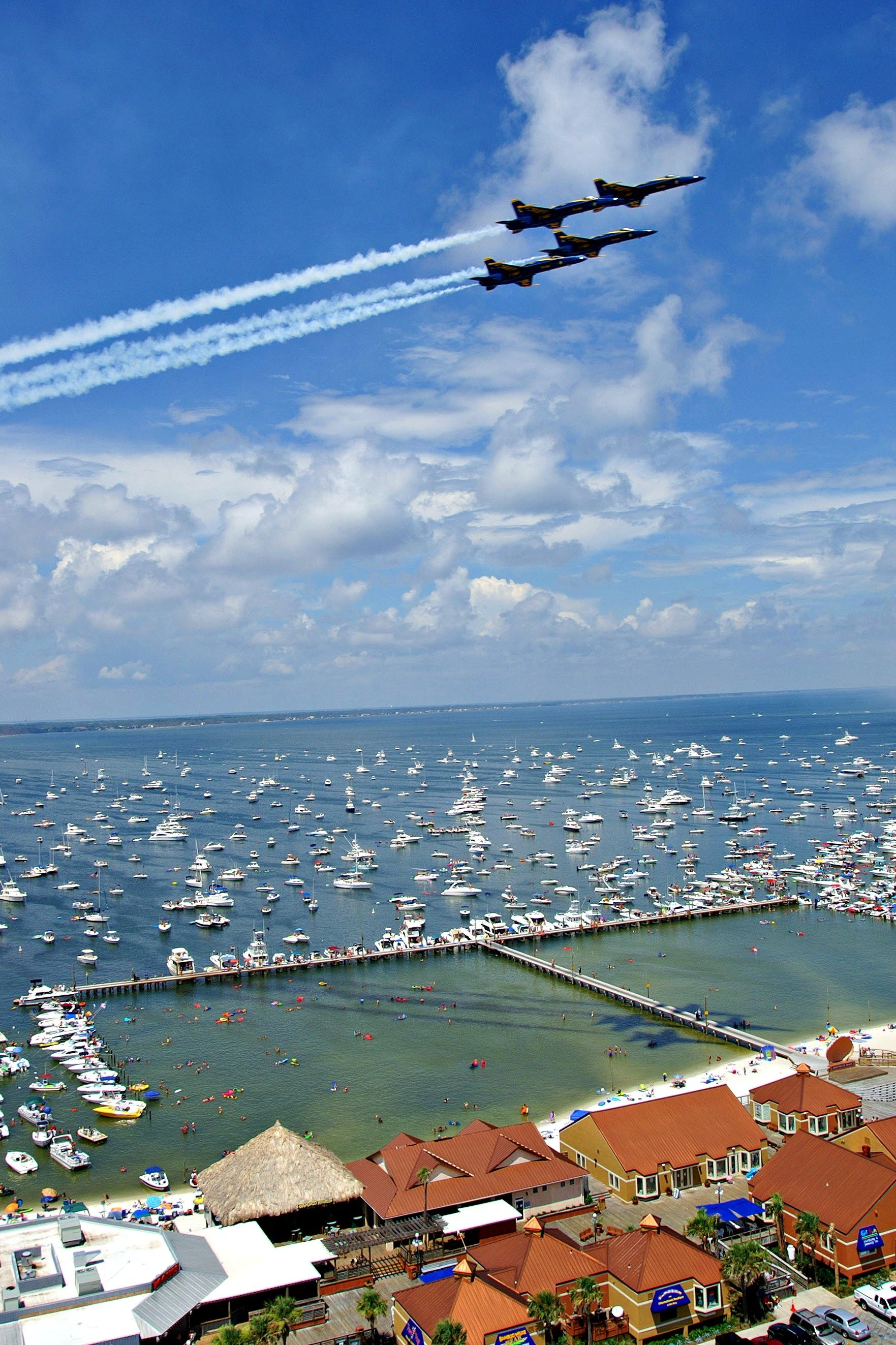 The Blue Angels Practice Maneuvers Over Pensacola Beach Photo Courtesy Of Visit