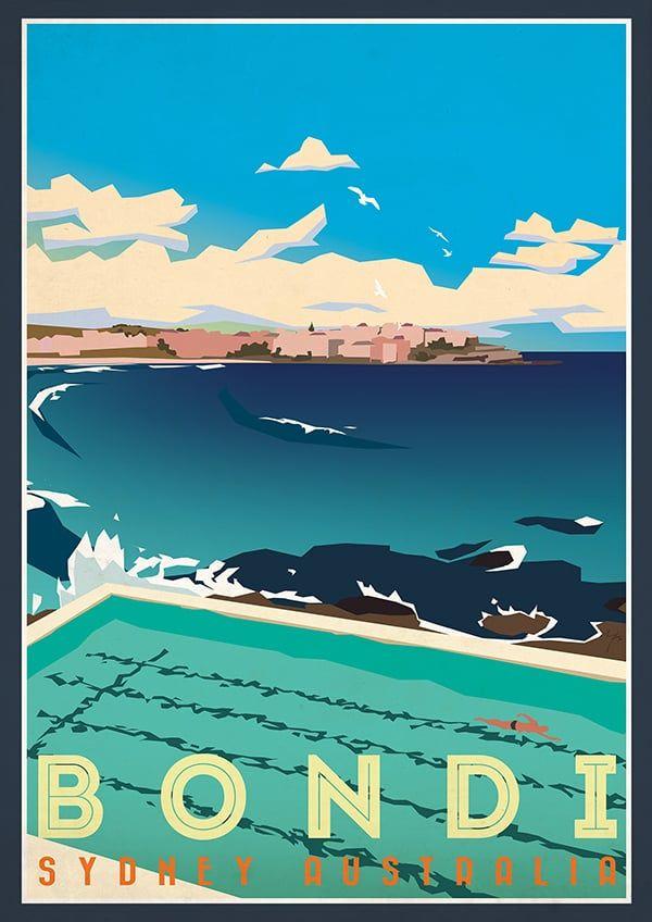 Jeremy Lord Illustration Sydney Australia Tamarama Posters Australia Retro Travel Poster Vintage Beach Posters