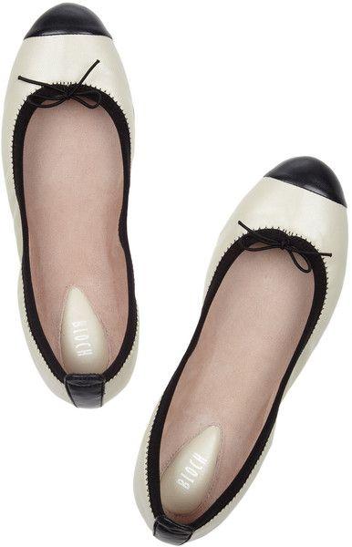 452889aa820 Bloch Contrasttrimmed Leather Ballet Flats in Beige (ivory) - Lyst