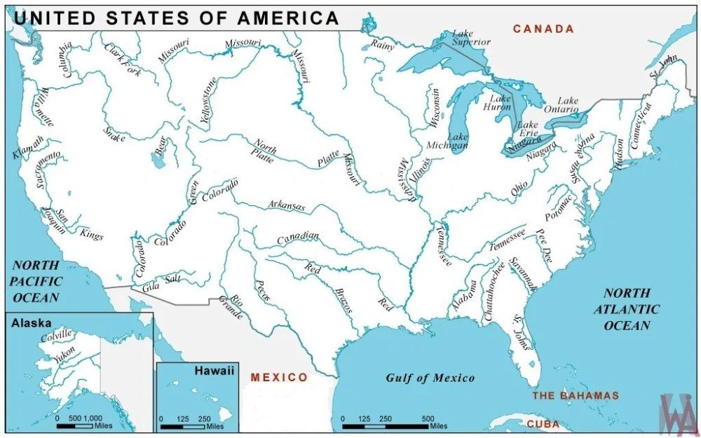 Major Rivers And Lake Map Of The Usa Whatsanswer Usa Map Lake Map North America Continent