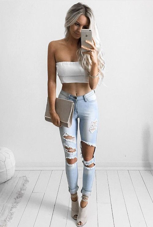 White Cropped Top Ripped Jeans Fashion Trends Casual Outfit