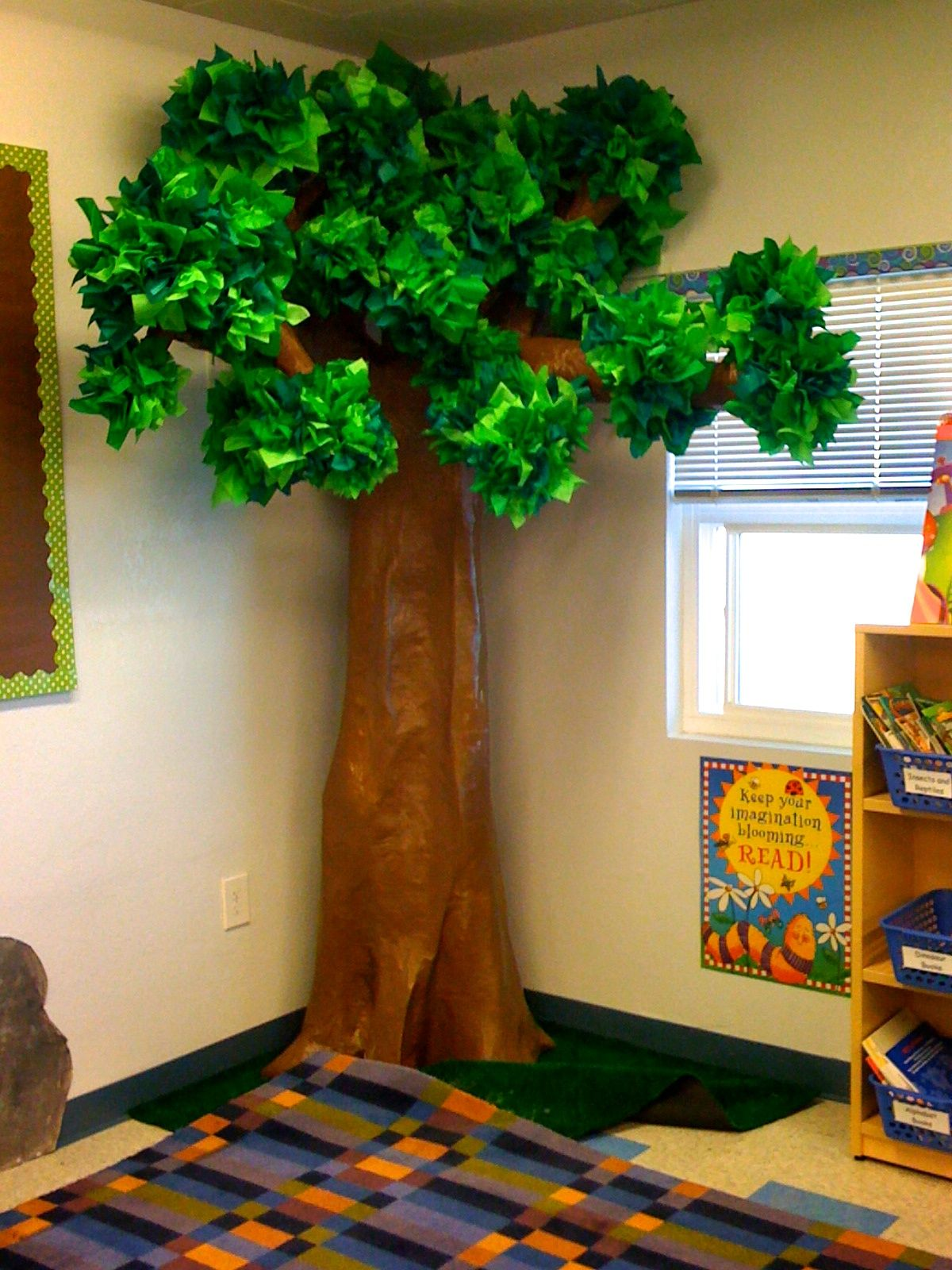 Our 3 d tree for my forest explorer theme took forever to for Classroom wall mural ideas