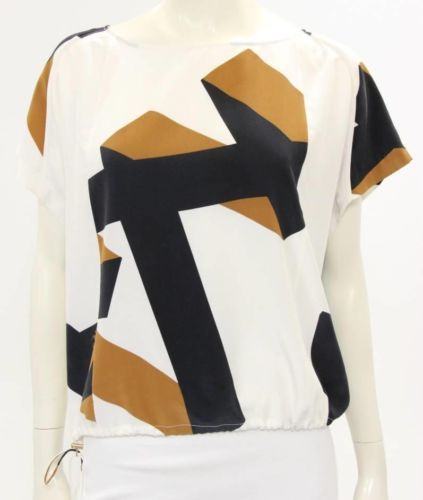 acf71ce26cf1c8 DVF Diane Von Furstenberg Cream Brown Black Silk Print Drawstring Blouse Sz  6   eBay