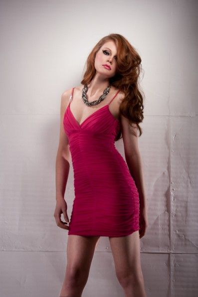 Gathered Pink Chiffon Mini Dress, overlapping V neck and shoestring straps with sequence.