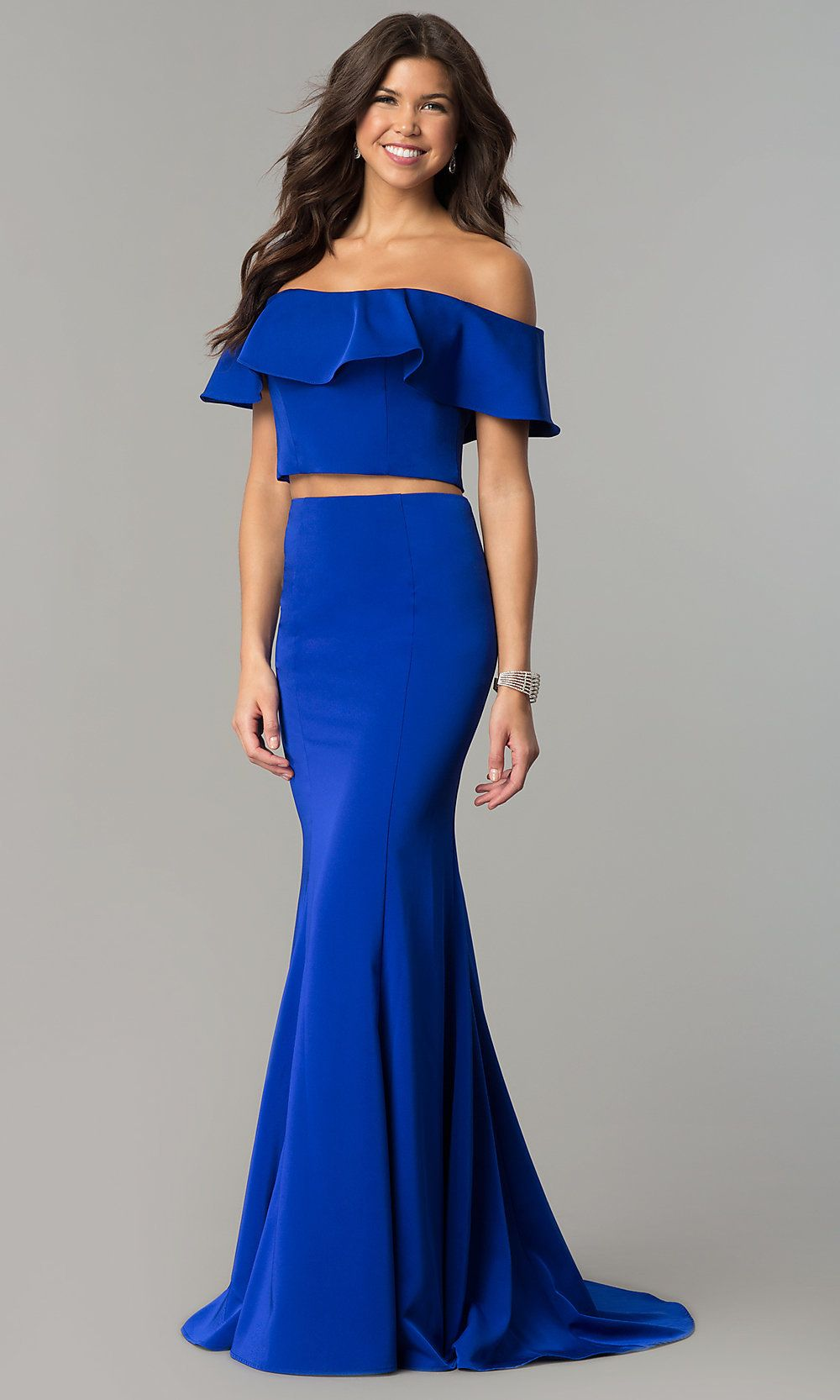 Cut-Out Open-Back Long Off-the-Shoulder Prom Dress
