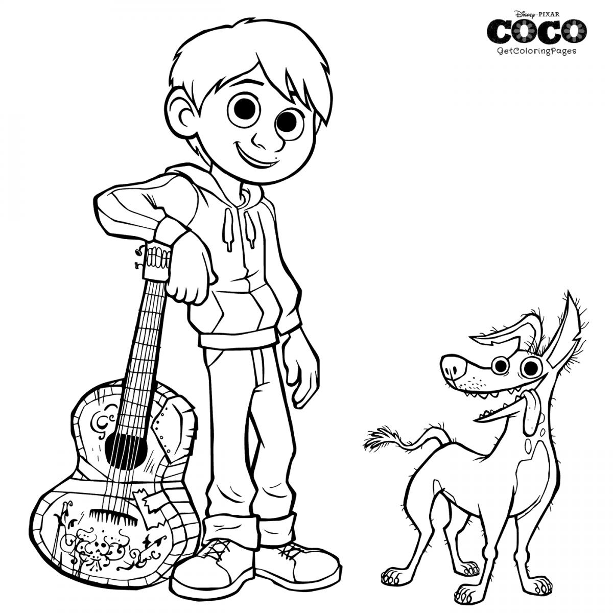 Dante And Miguel Coco Coloring Page Disney Coloring Pages Coloring Pages Coloring Books