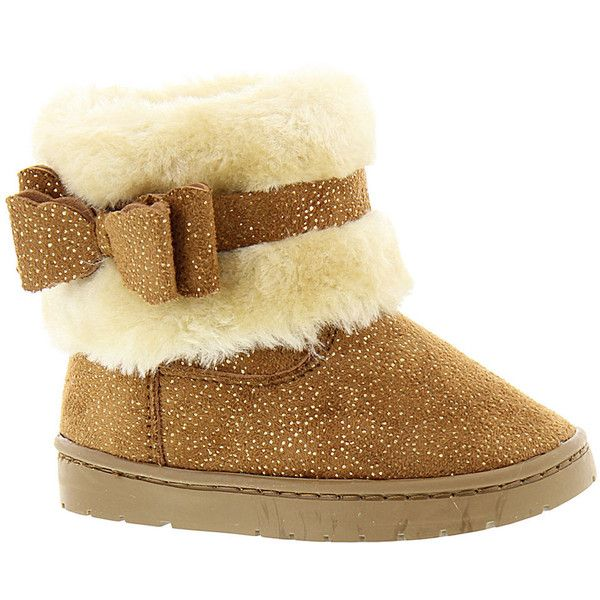 Rampage Lil Roxy (Girls' Infant-Toddler) ($35) ❤ liked on Polyvore featuring shoes, boots, ankle booties, chestnut, cold weather boots, bow boots, chestnut boots, rampage booties and rampage boots