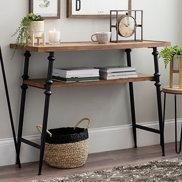 Modern Wood and Metal Console Table with Shelf | Metal ...