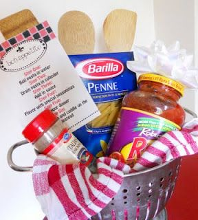 Buon Appetito: A colander, dish towel(s), box of noodles, jar of sauce, Italian seasonings, cooking utensils...   The colander takes the place of a basket and the dish towels take the place of tissue paper ~printable tag