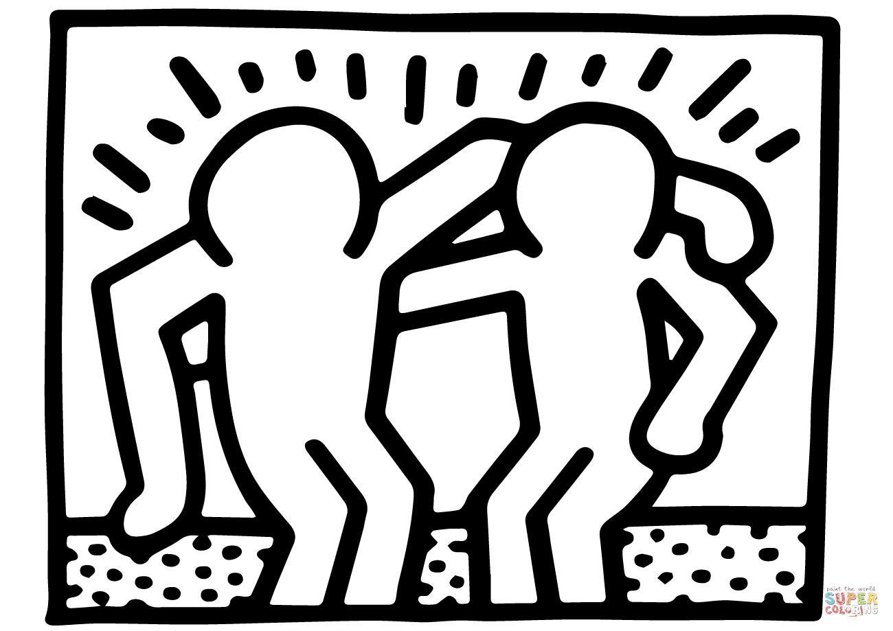 Keith Haring Art Coloring Pages Concept